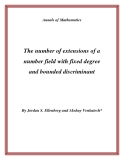 """Đề tài """" The number of extensions of a number field with fixed degree and bounded discriminant """""""
