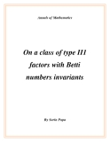 "Đề tài "" On a class of type II1 factors with Betti numbers invariants """