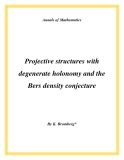 "Đề tài "" Projective structures with degenerate holonomy and the Bers density conjecture """