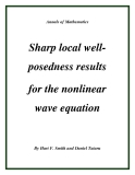 "Đề tài ""  Sharp local wellposedness results for the nonlinear wave equation """