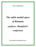 "Đề tài ""  The stable moduli space of Riemann surfaces: Mumford's conjecture """