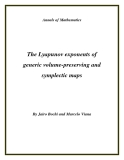 "Đề tài ""The Lyapunov exponents of generic volume-preserving and symplectic maps """