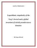 """Đề tài """" Logarithmic singularity of the Szeg¨o kernel and a global invariant of strictly pseudoconvex domains """""""