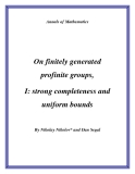 """Đề tài """" On finitely generated profinite groups, I: strong completeness and uniform bounds """""""