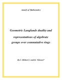 "Đề tài "" Geometric Langlands duality and representations of algebraic groups over commutative rings """