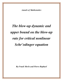 "Đề tài ""The blow-up dynamic and upper bound on the blow-up rate for critical nonlinear Schr¨odinger equation """