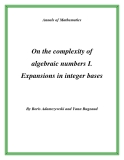 "Đề tài "" On the complexity of algebraic numbers I. Expansions in integer bases """