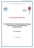 The World Bank's Poverty Reduction Strategy Paper Approach: Good Marketing or Good Policy?