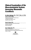 Clinical examination of musculoskeletal system assessing rheumatic conditions