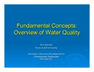 Fundamental Concepts:  Overview of Water Quality