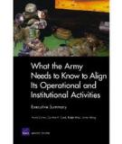 What the Army Needs to Know to Align Its Operational and Institutional Activities - Executive Summary