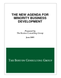 THE NEW AGENDA FOR  MINORITY BUSINESS  DEVELOPMENT