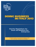 DOING BUSINESS  IN ITALY 2013: Smarter Regulations for Small and Medium-Size Enterprises