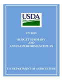 FY 2013    BUDGET SUMMARY  AND  ANNUAL PERFORMANCE PLAN