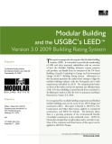 Modular Building  and the USGBC's LEED™  Version 3.0 2009 Building Rating System