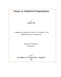 "Research "" ESSAYS IN INDUSTRIAL ORGANIZATION  """