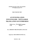 Luận văn AN INVESTIGATION INTO ENGLISH - VIETNAMESE TRANSLATION OF EUPHEMISM