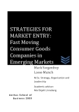 STRATEGIES FOR  MARKET ENTRY:  Fast Moving  Consumer Goods  Companies in  Emerging Markets