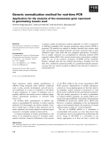 Báo cáo khoa học: Generic normalization method for real-time PCR Application for the analysis of the mannanase gene expressed in germinating tomato seed