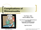 Complications of   Rhinosinusitis Synopsis of Critical Sequelae