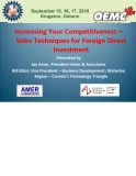 Increasing Your Competitiveness –  Sales Techniques for Foreign Direct  Investment