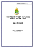 SERVICE PROVIDER DATABASE  REGISTRATION FORM 2012/2013