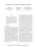 """Báo cáo khoa học: """"Classifying French Verbs Using French and English Lexical Resources"""""""