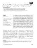 Báo cáo khoa học: Levels of mTOR and its downstream targets 4E-BP1, eEF2, and eEF2 kinase in relationships with tau in Alzheimer's disease brain