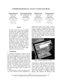 """Báo cáo khoa học: """"A Multimodal Interface for Access to Content in the Home"""""""