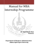 Manual for MBA  Internship Programme