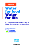 WATER FOR FOOD WATER FOR LIFE - A Comprehensive Assessment ofWater Management in Agriculture