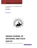 INDIAN JOURNAL OF MATERNAL AND CHILD HEALTH