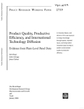 product quality productive efficiency and international technology