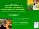 """Consumer Perceptions of   Food Technology & Sustainability"""