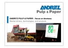 ANDRITZ PULP & PAPER – focus on biomass Market drivers, technologies, and products