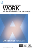 GUIDELINES FOR WRITING WORK METHOD STATEMENTS IN PLAIN ENGLISH
