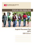 Focus on English English Placement Test  (EPT) 2009 Edition