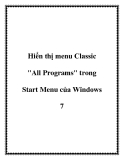 "Hiển thị menu Classic ""All Programs"" trong Start Menu của Windows 7"