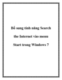 Bổ sung tính năng Search the Internet vào menu Start trong Windows 7