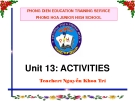 Bài giảng Tiếng Anh 7 unit 13: Activities