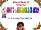 Bài giảng Tiếng Anh 7 Unit 7: The world of work