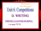 Bài giảng Tiếng Anh 11 Unit 6: Competitions