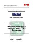 Implementation of DES  Algorithm Using FPGA  Technology