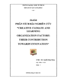 "Đề tài: Phân tích bài nghiên cứu ""creative climate and learning organization factors: their contribution towards innovation"""