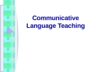 Lecture Communicative language teaching
